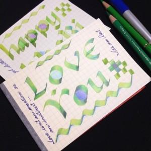 カリグラフィーと色鉛筆