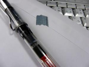 手紙の封にマスキングテープ
