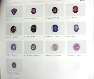 ジュエリーコーディネーター検定2級テキストよりお借りしました。紫の宝石たち。